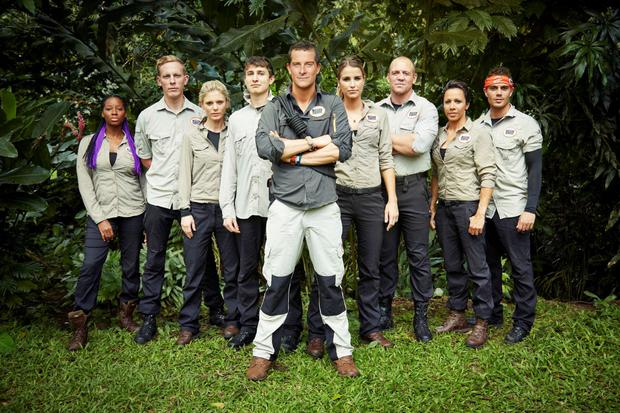 Undated handout photo issued by ITV of (left to right) Jamelia, Laurence Fox, Emilia Fox, Tom Rosenthal, Bear Grylls, Vogue Williams, Mike Tindall, Dame Kelly Holmes and Max George, in the forthcoming ITV show Bear Grylls' Mission Survive on ITV