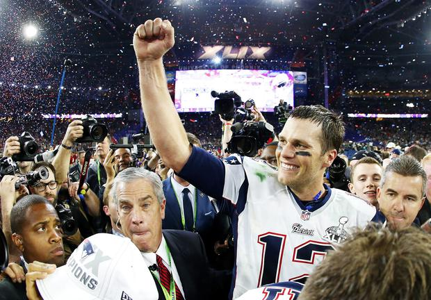 Tom Brady #12 of the New England Patriots celebrates after defeating the Seattle Seahawks 28-24 during Super Bowl XLIX at University of Phoenix Stadium on February 1, 2015 in Glendale, Arizona
