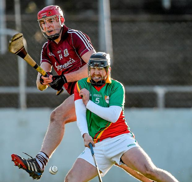 Jonathan Glynn, Galway, in action against Richard Coady, Carlow. Bord na Mona Walsh Cup, Semi-Final, Carlow v Galway. Netwatch Cullen Park, Carlow