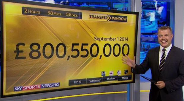 Sky Sports reporter Bryan Swanson and the transfer 'totaliser'