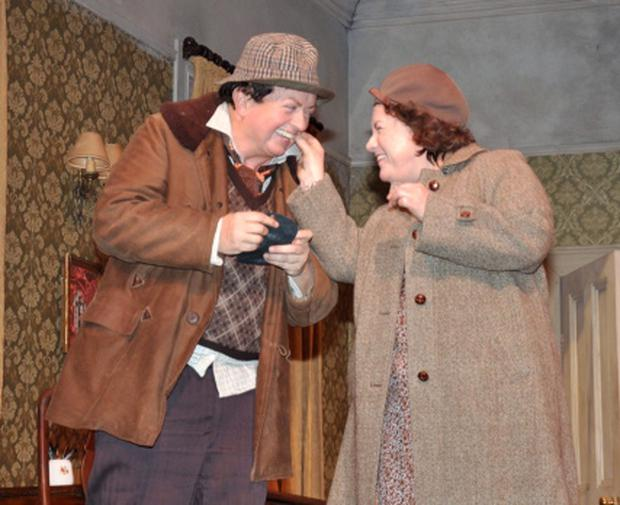 Marty Morrissey (RTE) in dress rehearsal for his one off performance as Ulick in John B. Keane's comedy MOLL with Mary McEvoy & Clare Barrett at the Gaiety Theatre