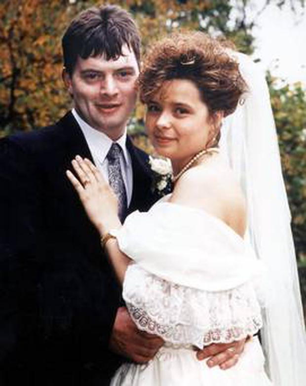 Julie McGinley and her husband Gerry on their wedding day