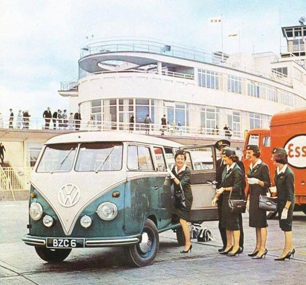 Aer Lingus cabin crew on the Dublin Airport tarmac. Photo: Dublin Airport/Pinterest