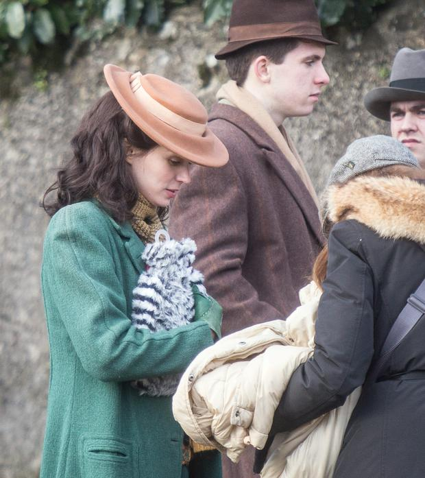 2/2/2015: Actor Rooney Mara gets a hot water bottle after finishing a scene from 'The Secret Scripture' being filmed in Inistiogue Co Kilkenny. Photo: Pat Moore