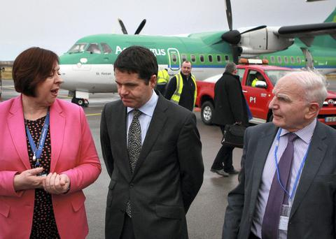 Mr. Paschal Donohoe, T.D. Minister for Transport, Tourism and Sport is welcomed by Anne Bonnar, Airport Manager and Michael McLoone Chairman of Donegal Airport as he arrived in Donegal Airport to officially open the Aer Lingus Regional service between Donegal and Dublin. Photo: Brian McDaid