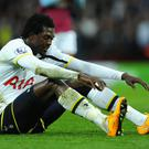 West Ham made an enquiry over taking Emmanuel Adebayor on loan until the end of the season after hearing that Spurs had been willing to subsidise his £100,000-a-week wages. Photo: Stu Forster/Getty Images