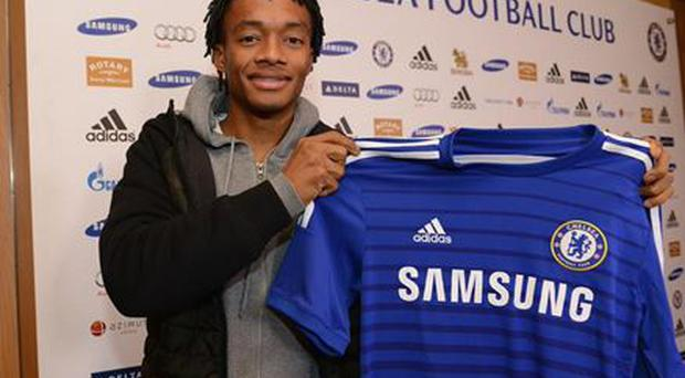Juan Cuadrado after signing for Chelsea from Fiorentina