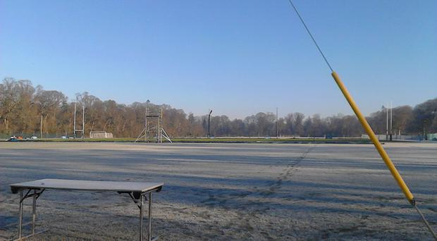 The frozen playing surface at Carton House this morning.