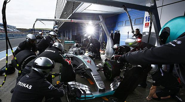 Nico Rosberg's Mercedes had to return to the garage during testing Photo: GETTY IMAGES
