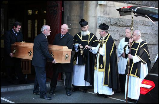 The Latin High Mass at the funeral of the former Economist, Journalist at St. Kevins Church on Harrington Street. Pic Steve Humphreys