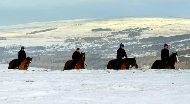 Work riders brave the elements as they make their way back from the gallops in Middleham, England, yesterday