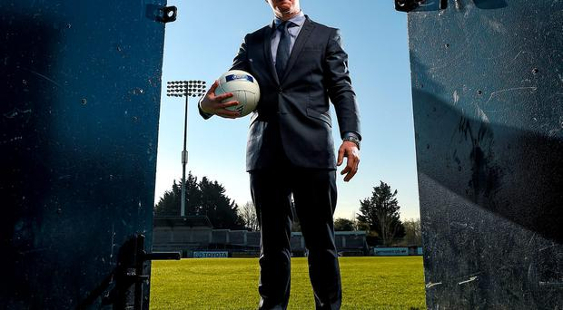 Jim Gavin, pictured at yesterday's unveiling of Ballygowan and Energise Sport as the new official hydration partners of Dublin GAA, can't understand why the 'hooter' has not been introduced