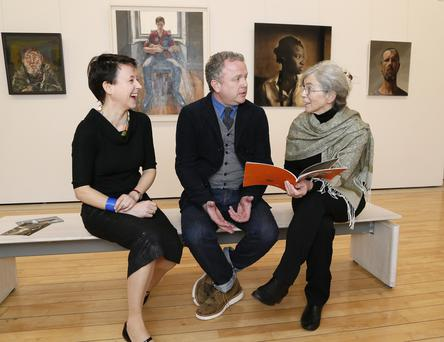 Pictured are Anne Hodge (Curator of Prints and Drawings, NGI), Colin Davidson PRUA (artist) and Catherine Marshall (scholar and curator) – the judging panel for the Hennessy Portrait Prize 2015