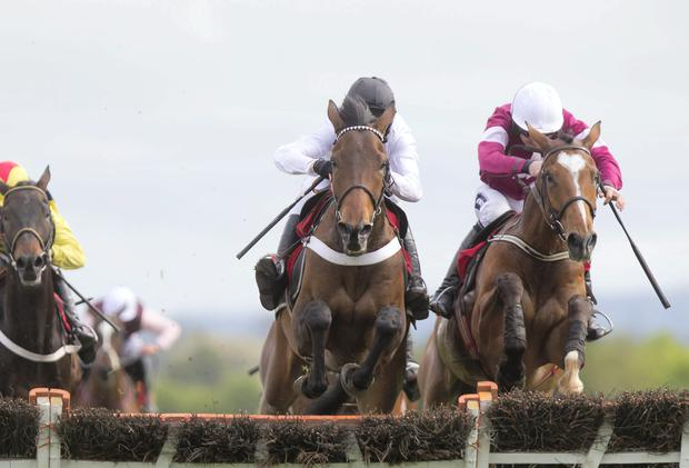 Beat That (left) and Barry Geraghty jumping with Don Poli