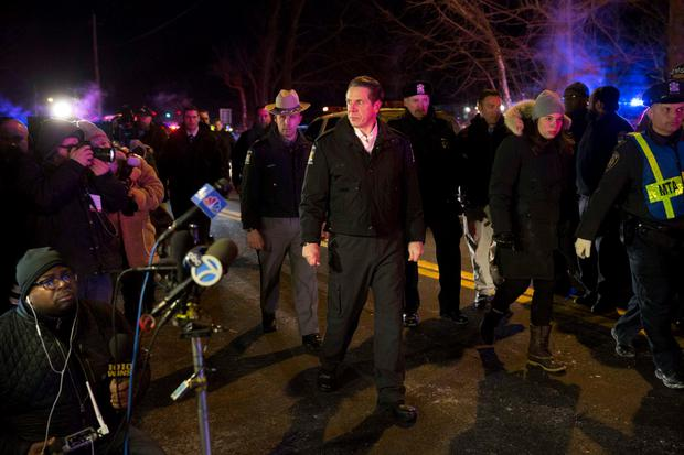 New York Governor Andrew Cuomo arrives for a press conference near the site where a Metropolitan Transportation Authority (MTA) Metro North Railroad commuter train had hit a car near the town of Valhalla, New York, February 3, 2015. REUTERS/Mike Segar