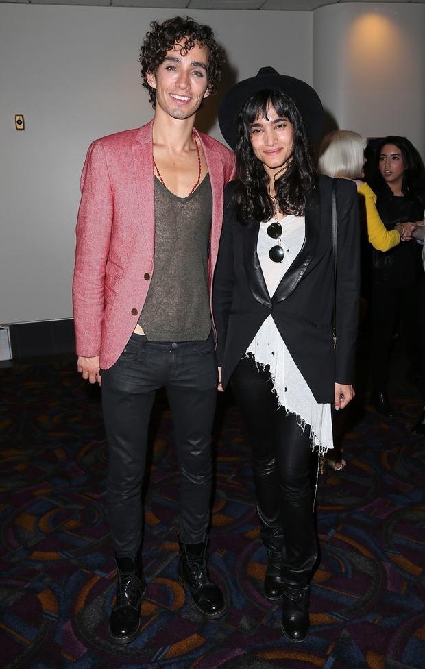Actor Robert Sheehan (L) and dancer Sofia Boutella attend the 2014 Los Angeles Film Festival