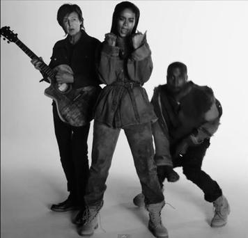 Rihanna, Paul McCartney, and Kanye West in her new FourFiveSeconds video