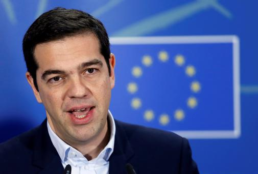 Greek Prime Minister Alexis Tsipras addresses a news conference after meeting European Parliament President Martin Schulz yesterday. Reuters.