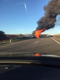 The scene on the M8 earlier