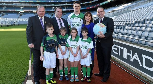 Dublin hurler Danny Sutcliffe at the Croke Park launch of the GAA World Games with GAA chairman Liam O'Neill, James Kennedy, chairman of the Middle East County Board, Beatrice Cosgrove, Etihad Airways' general manager in Ireland General Manager, and Paddy Darcy, secretary of the Middle East County Board. Photo: Ray McManus / SPORTSFILE