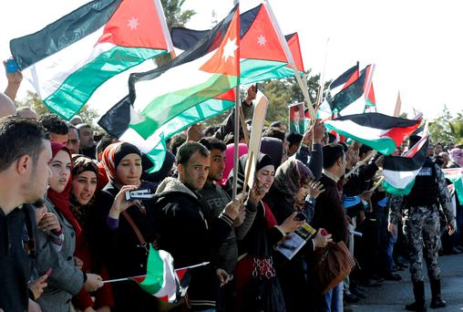 Thousands of Jordanians take to the streets to protest at the burning alive of pilot Muath Al-Kasebeh by Isil
