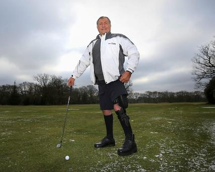 John Simpson wears the world's first lower-limb bionic exo-skeleton, which allows him to walk naturally for the first time in over 40 years