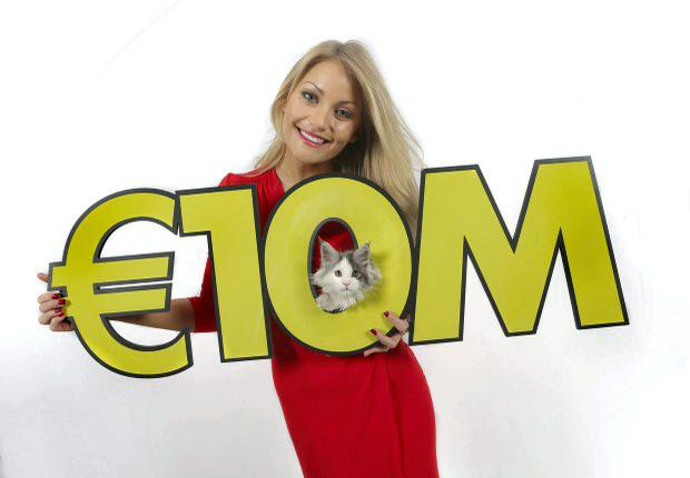 Model Kerri-Nicole Blanc and her litter of 10 lucky kittens celebrate Wednesdays big Lotto jackpot which is an estimated 10 million
