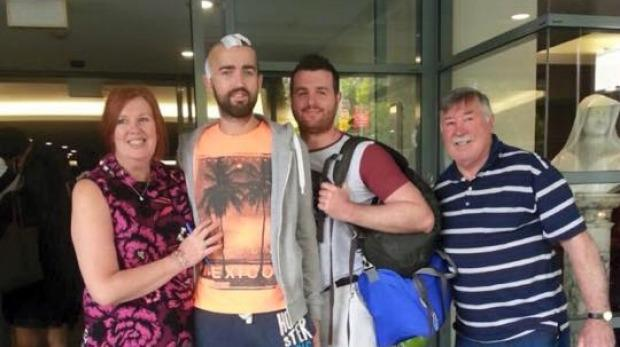 Patrick Lyttle outside St Vincent's Hospital with his brother Barry, father Oliver and sister Karen McHugh. Photo: Facebook