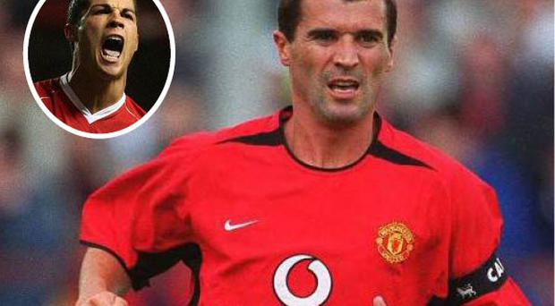 Roy Keane was voted the ninth best Premier League player of all time while (inset) Ronaldo was first