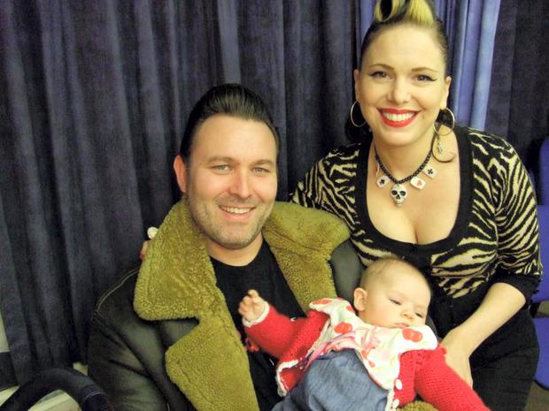 Imelda May and partner Darrel and baby Violet