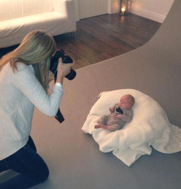 Photographer Jenny McCarthy shoots baby Finn in a family photoshoot