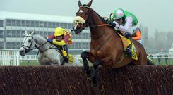Hidden Cyclone jumps the last in front during last year's Ryanair Chase.