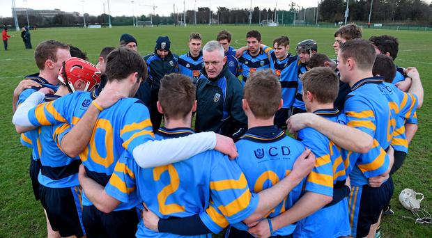 UCD manager Nicky English speaks to his players after the game. Independent.ie Fitzgibbon Cup, Group A, Round 2, UCD v DCU. University College Dublin, Dublin. Picture credit: Pat Murphy / SPORTSFILE