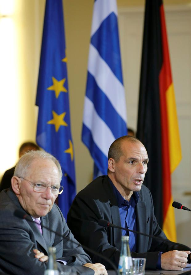 Greek Finance Minister Varoufakis and German Finance Minister Schaeuble in Berlin.