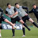 Best foot forward: Ian Keatley, James Cronin, Robbie Henshaw, Tommy O'Donnell and Jared Payne at Carton House yesterday