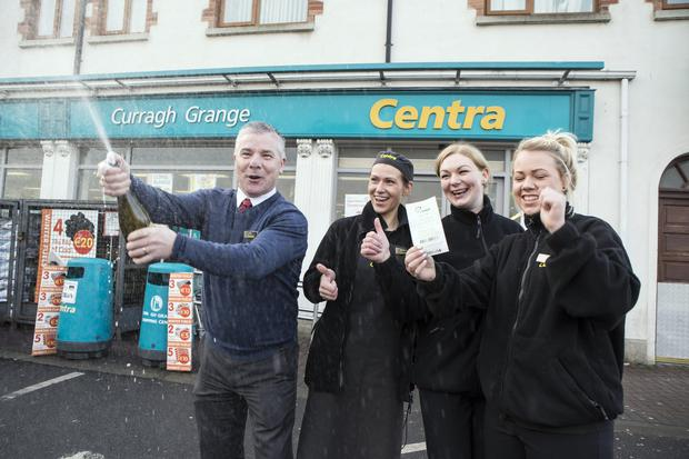 Jordan's Centra manager John Murray, Madara Cirule, Sigita Narmontiene and Danielle Kealey celebrating the sale of a €10m Lotto ticket. 6/2/2015