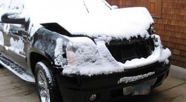 Lance Armstrong's SUV that was damaged in an alleged hit-and-run in Aspen, Colorado.