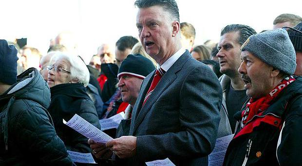 Louis van Gaal at a ceremony for the Busby Babes today