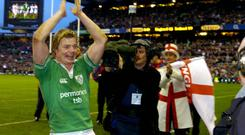 Brian O'Driscoll celebrates after Ireland beat England in Twickenham in 2004