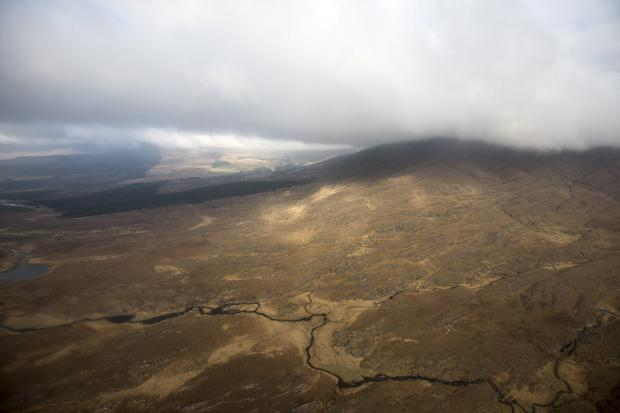 General views from Proffesor from the Irish Air Corps helicopter while conducting an inland fisheries patrol flight around the country. Pic:Mark Condren 6.2.2015