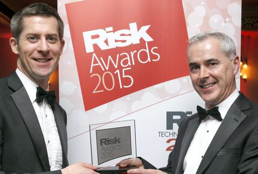 Colm Moriarty and Cathal Marley, ESB Group Treasury, with the Corporate Treasury of the Year Award from Risk Magazine.