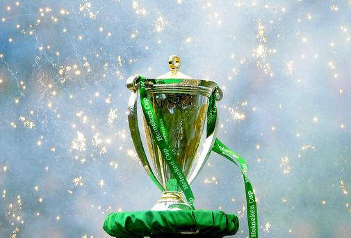 The Heineken Cup on display in Dublin's Aviva Stadium after the all-French final between Clermont Auvergne and Toulon in 2013. Photo: Stephen McCarthy / SPORTSFILE