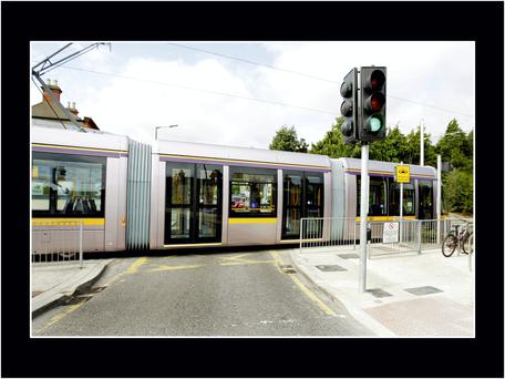 Luas tram approaching Beechwood staion on the Green line. Photo: Gerry Mooney.