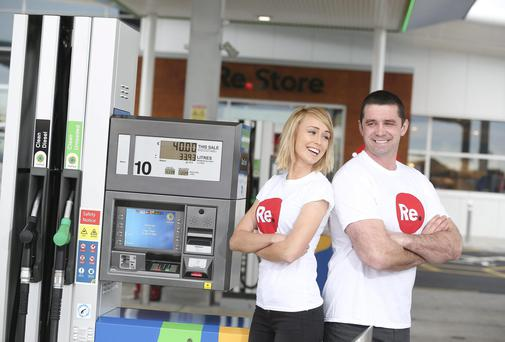 Irish Fifa Puskas award finalist Stephanie Roche and former Munster and Ireland rugby star Alan Quinlan at the launch of the new service station at Northern Cross in Dublin. Photo: Conor McCabe
