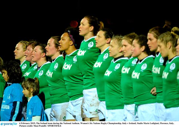 6 February 2015; The Ireland team during the National Anthem. Women's Six Nations Rugby Championship, Italy v Ireland, Stadio Mario Lodigiani, Florence, Italy. Picture credit: Maxi Pratelli / SPORTSFILE