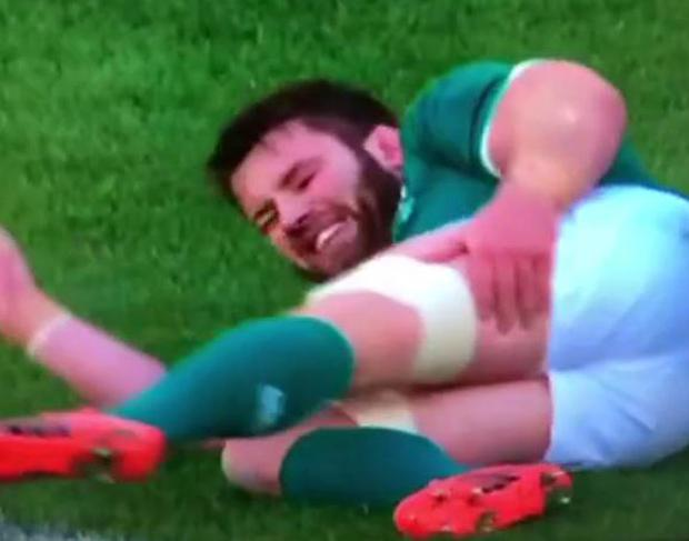 Sean O'Brien grimmaces after injuring his hamstring