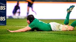 Tommy O'Donnell, Ireland, crosses the line to score his side's second try of the game. RBS Six Nations Rugby Championship, Italy v Ireland. Stadio Olimpico, Rome, Italy. Picture credit: Brendan Moran / SPORTSFILE