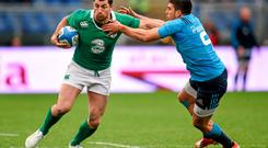 Rob Kearney, Ireland, is tackled by Edoardo Gori, Italy. RBS Six Nations Rugby Championship, Italy v Ireland. Stadio Olimpico, Rome, Italy. Picture credit: Stephen McCarthy / SPORTSFILE
