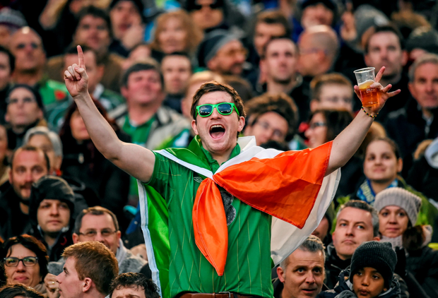 An Ireland supporter celebrates Ireland victory close to the final whistle at the Stadio Olimpico. Stephen McCarthy / SPORTSFILE