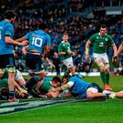 Conor Murray goes over for Ireland's first try in the win over Italy at the Stadio Olimpico